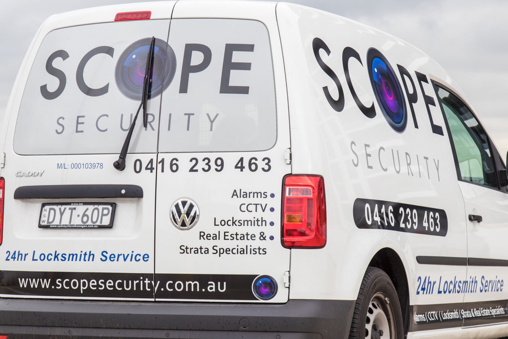 rear quarter photo of the Scope Security Pty Ltd mobile locksmith service in Sydney that is available 24 hours a day